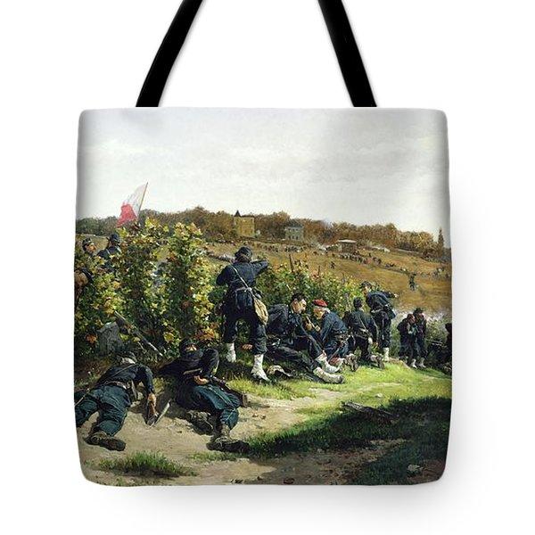 The Tirailleurs De La Seine At The Battle Of Rueil Malmaison Tote Bag by Etienne Prosper Berne-Bellecour