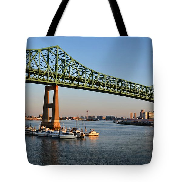The Tobin Bridge Into The Sunset Chelsea Yacht Club Tote Bag