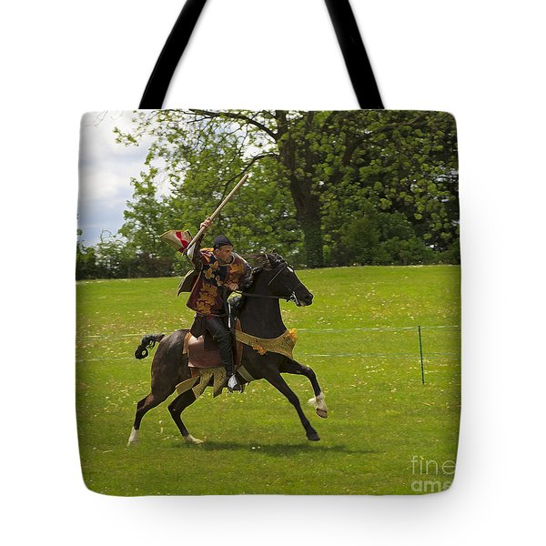 The Toss A Squire Throws A Javelin From Horseback Tote Bag by Louise Heusinkveld
