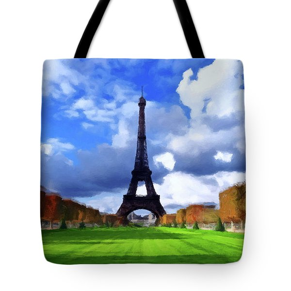 Tote Bag featuring the painting The Tower Paris by David Dehner