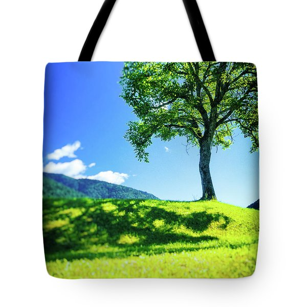 Tote Bag featuring the photograph The Tree On The Hill by Silvia Ganora