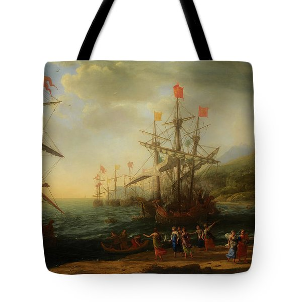 Tote Bag featuring the painting The Trojan Women Setting Fire To The Fleet by Claude Lorrain