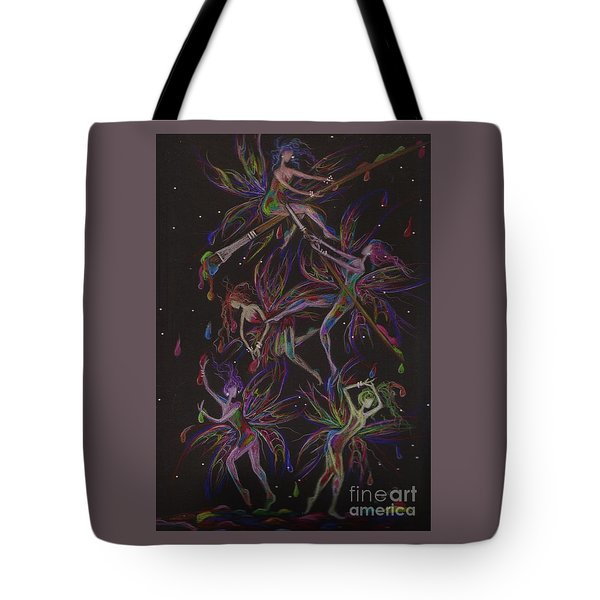 Tote Bag featuring the drawing The Trouble With Paint by Dawn Fairies