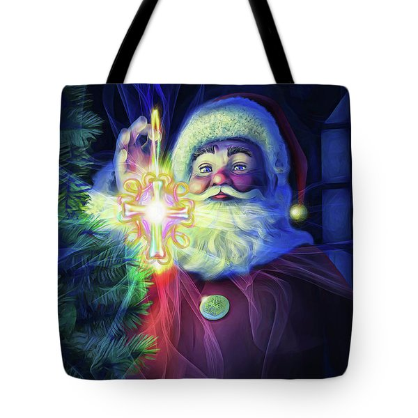 Tote Bag featuring the painting The True Spirit Of Christmas - Bright by Dave Luebbert