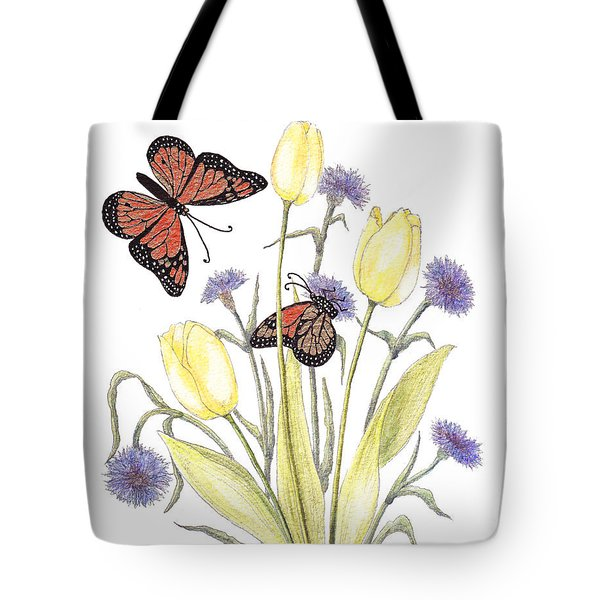 Tote Bag featuring the painting The Tulip And The Butterfly by Stanza Widen