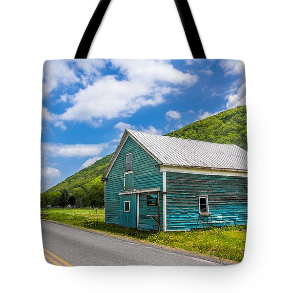 Tote Bag featuring the photograph The Turquoise Barn by Paula Porterfield-Izzo