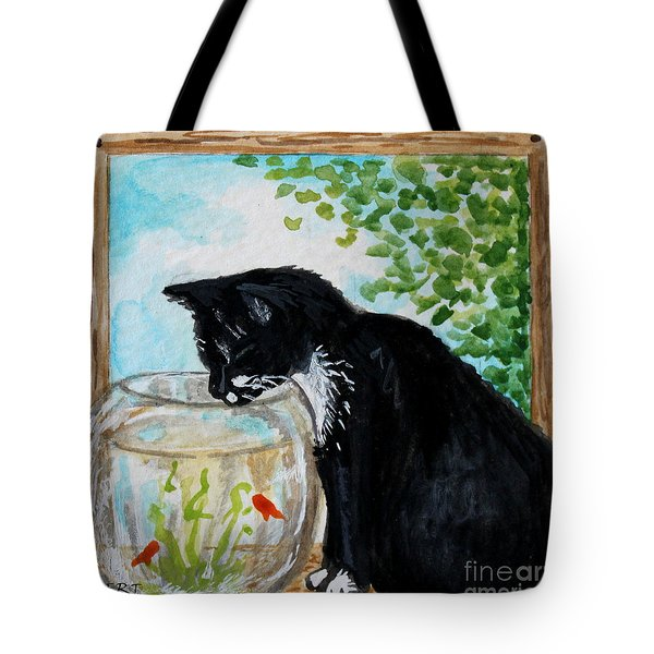 The Tuxedo Cat And The Fish Bowl Tote Bag by Elizabeth Robinette Tyndall