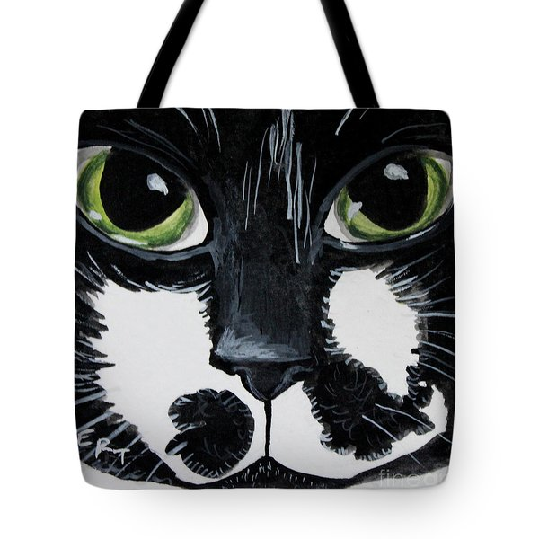 The Tuxedo Cat Tote Bag by Elizabeth Robinette Tyndall