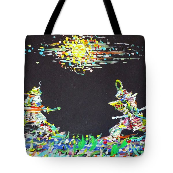 Tote Bag featuring the painting The Two Samurais by Fabrizio Cassetta