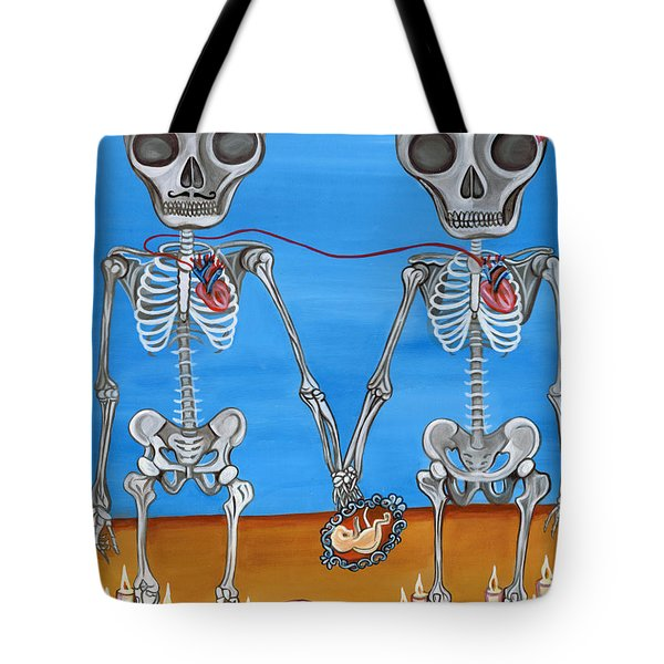 The Two Skeletons Tote Bag
