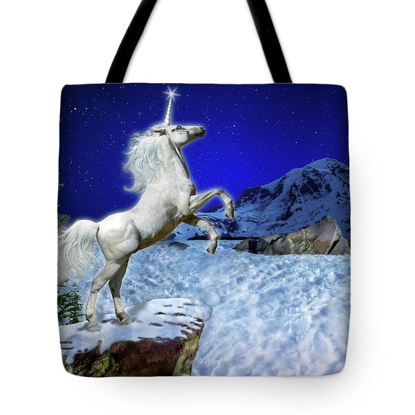 Tote Bag featuring the digital art The Ultimate Return Of Unicorn  by William Lee