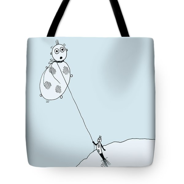 Tote Bag featuring the drawing The Unexpected Consequences Of Inhaling Helium by Keith A Link