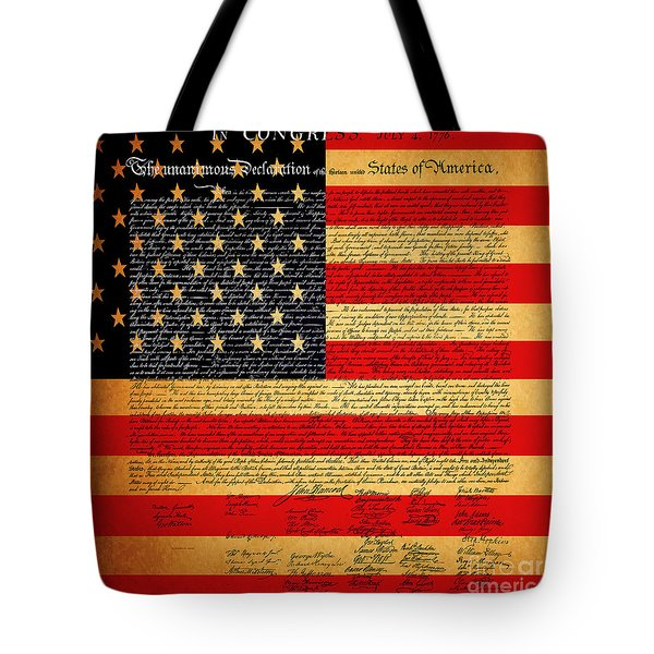 The United States Declaration Of Independence - American Flag - Square Tote Bag
