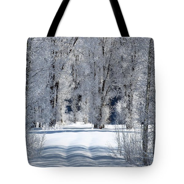 The Untraveled Winter Road Tote Bag