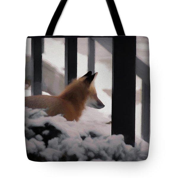 Tote Bag featuring the digital art The Urban Fox by Ernie Echols