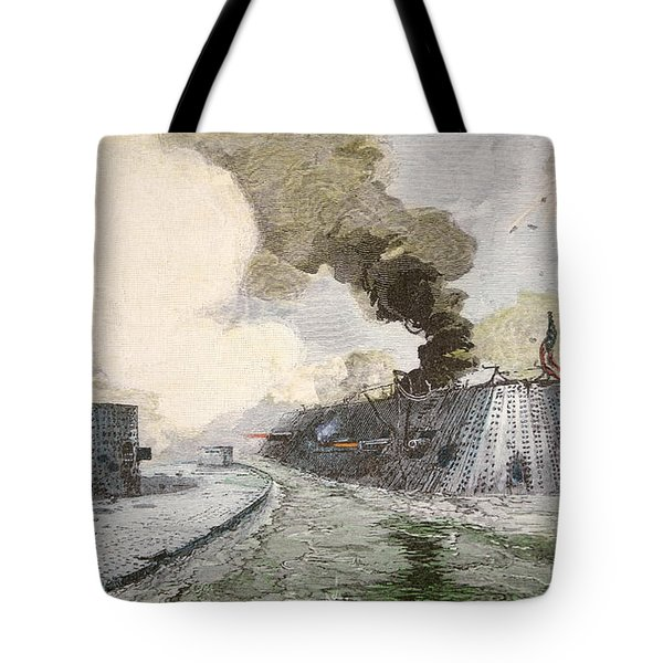 The Uss Monitor Fighting The Css Merrimack At The Battle Of Hampton Broads During The Civil War Tote Bag