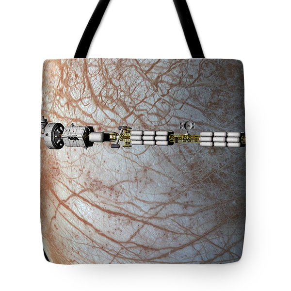 Tote Bag featuring the digital art The Uss Savannah In Orbit Around Europa by David Robinson