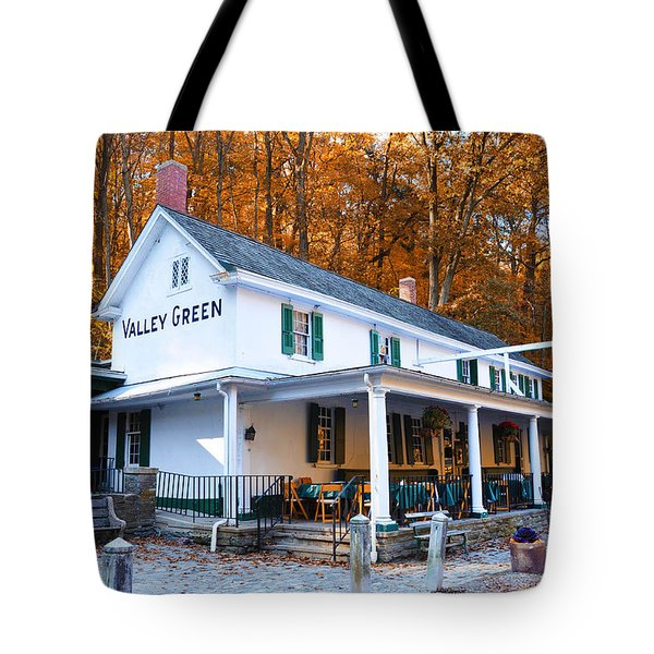 Tote Bag featuring the photograph The Valley Green Inn In Autumn by Bill Cannon