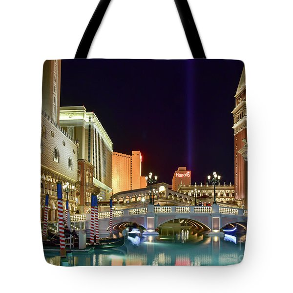 The Venetian Gondolas At Night Tote Bag