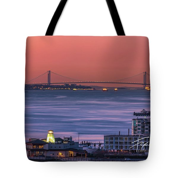 Tote Bag featuring the photograph The Verrazano Bridge At Sunrise by Francisco Gomez