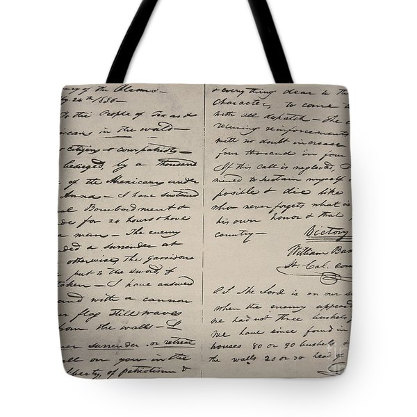 The Victory Of Death Letter Written By The Alamo Commander William Barret Travis, 1836  Tote Bag