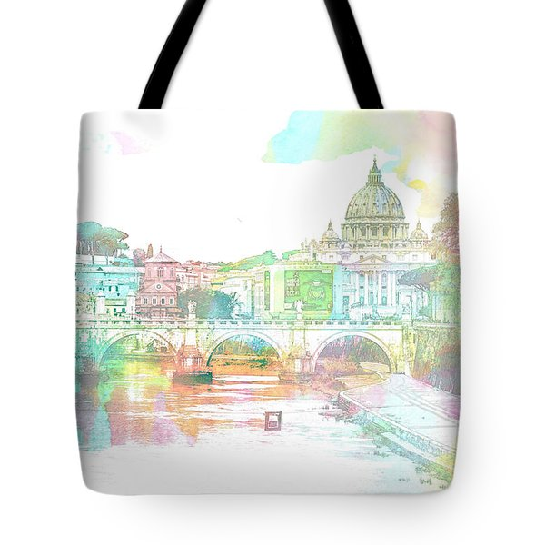 The View From Castel Sant'angelo Towards Ponte Sant'angelo, Brid Tote Bag