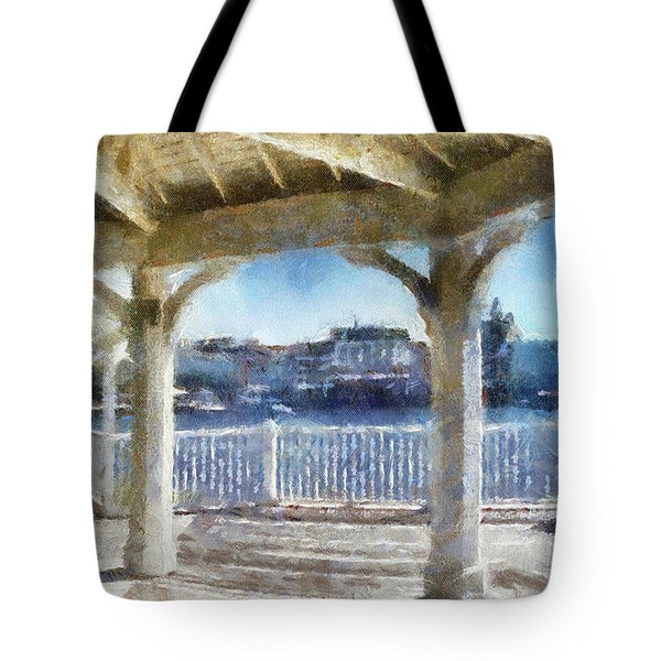 The View From The Boardwalk Gazebo Wdw 02 Photo Art Mp Tote Bag