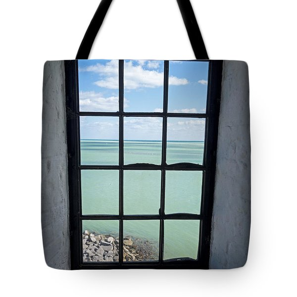 The View From The Lighthouse Window Bill Baggs Lighthouse Key Biscayne Florida Tote Bag