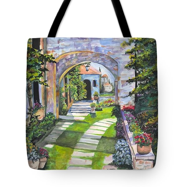 Tote Bag featuring the digital art The Villa by Darren Cannell