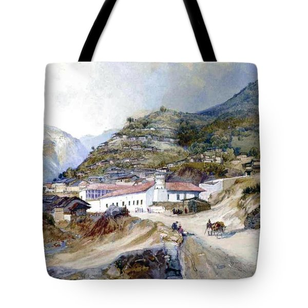 The Village Of Angangueo Tote Bag by Thomas Moran
