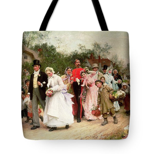 The Village Wedding Tote Bag by Sir Samuel Luke Fildes