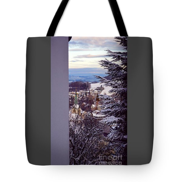 Tote Bag featuring the photograph The Village - Winter In Switzerland by Susanne Van Hulst