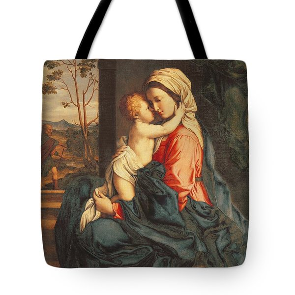 The Virgin And Child Embracing Tote Bag