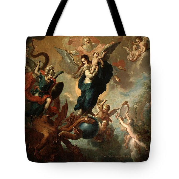 Tote Bag featuring the painting The Virgin Of The Apocalypse by Miguel Cabrera