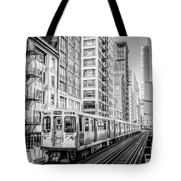 The Wabash L Train In Black And White Tote Bag