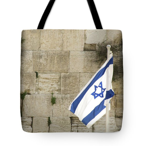 Tote Bag featuring the photograph The Wailing Wall And The Flag by Yoel Koskas