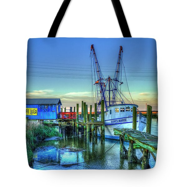 Tote Bag featuring the photograph The Waiting Shrimper Tybee Island Dawn Art by Reid Callaway