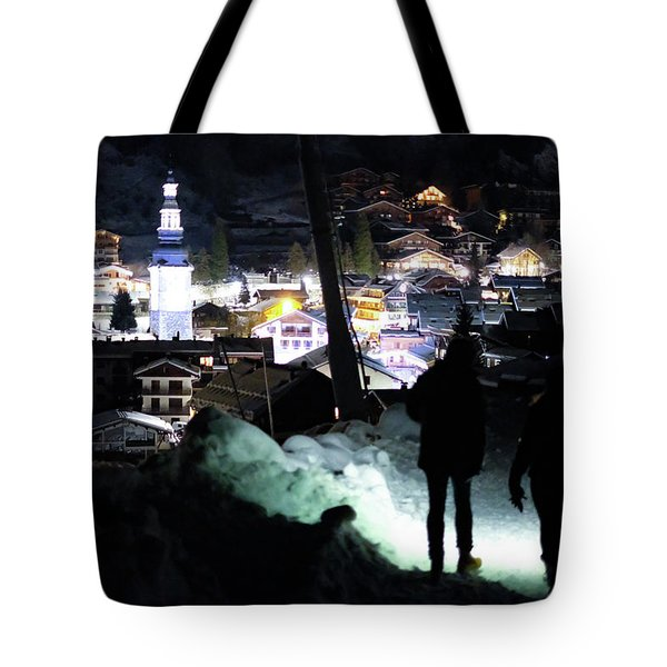 Tote Bag featuring the photograph The Walk Into Town- by JD Mims
