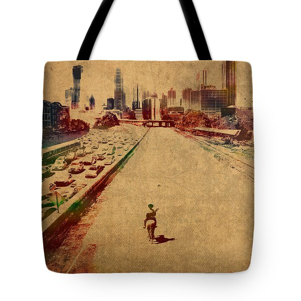 The Walking Dead Watercolor Portrait On Worn Distressed Canvas No 2 Tote Bag by Design Turnpike