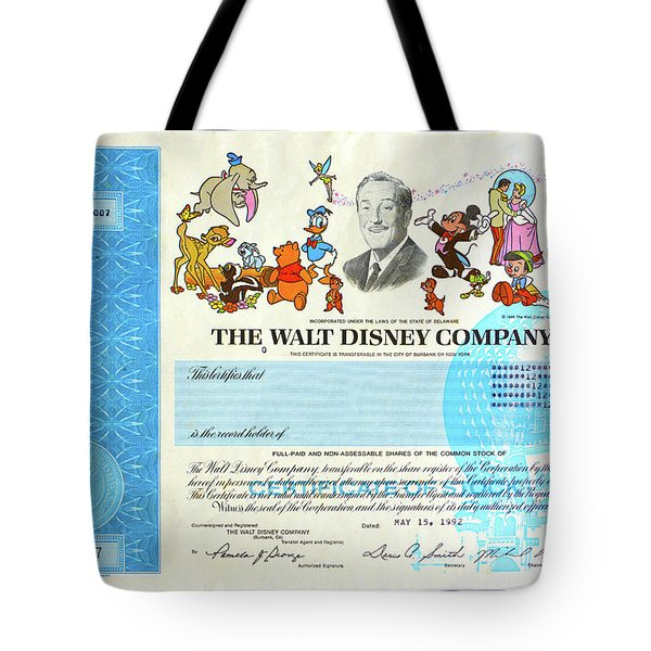The Walt Disney Company Stock Cert Tote Bag