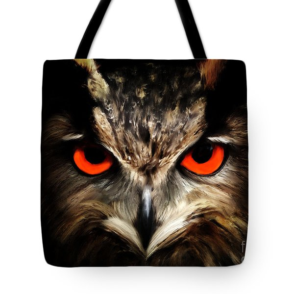 The Watcher - Owl Digital Painting Tote Bag