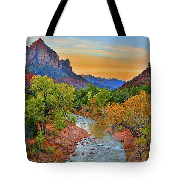The Watchman And The Virgin River Tote Bag