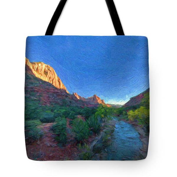 Tote Bag featuring the photograph The Watchman Zion National Park by Bitter Buffalo Photography