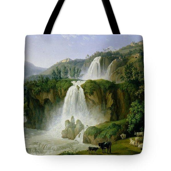 The Waterfall At Tivoli Tote Bag by Jacob Philippe Hackert
