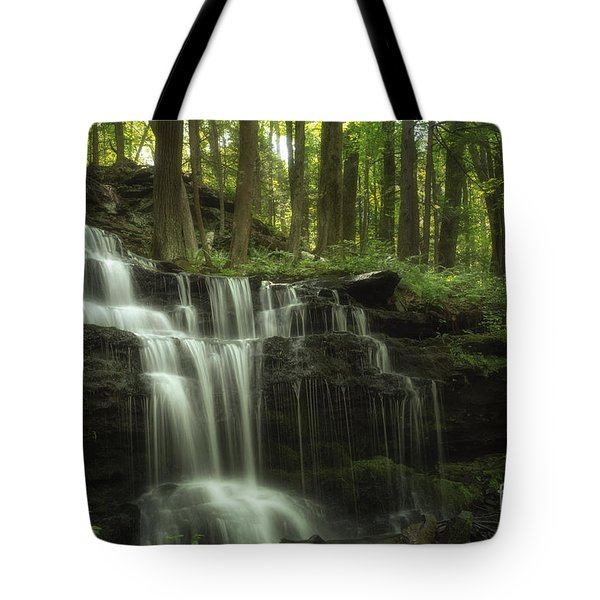 Tote Bag featuring the photograph The Waterfall In The Forest by Mary Lou Chmura