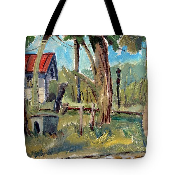 Tote Bag featuring the painting The Watkins Lady And Her Railroadin Man by Charlie Spear