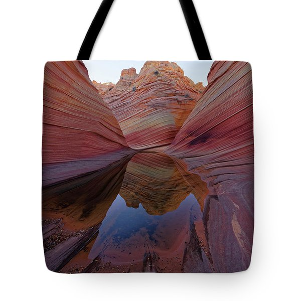 Tote Bag featuring the photograph The Wave Reflection by Jonathan Davison