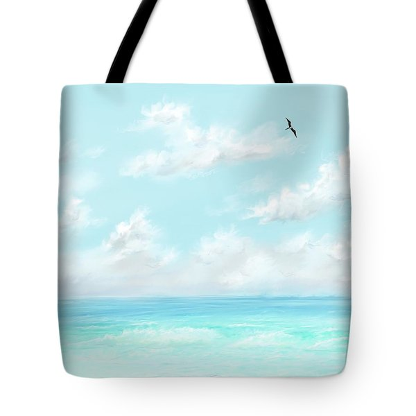 Tote Bag featuring the digital art The Waves And Bird by Darren Cannell