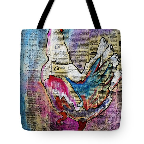 The Well Read Chicken Tote Bag by Janice Rae Pariza