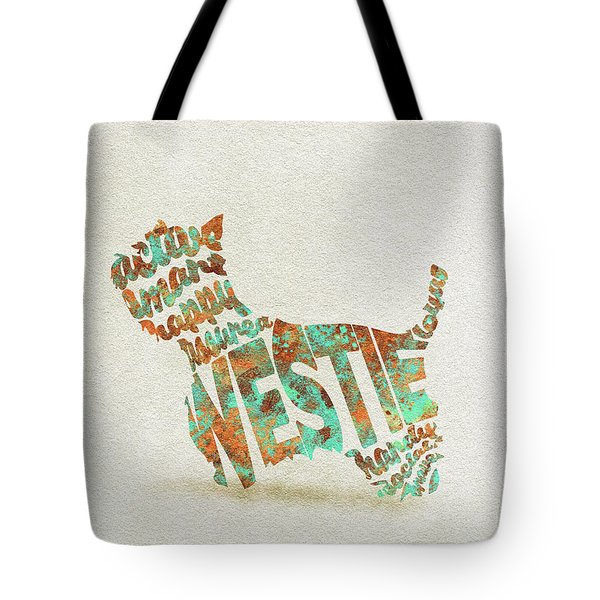 Tote Bag featuring the painting The West Highland White Terrier Watercolor Painting / Typographic Art by Inspirowl Design
